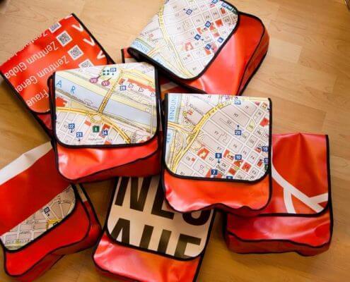 Die Mannheimer Quadrate sind auf dem Deckel der Upcycling Tasche