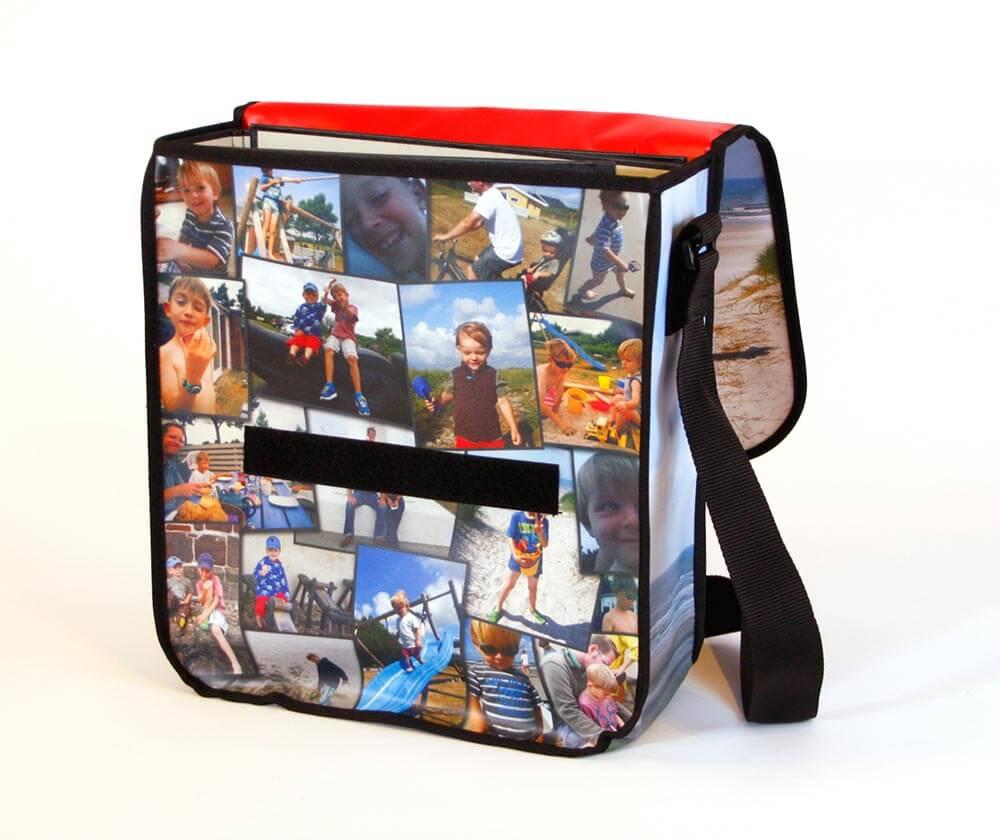 Die Recycling Tasche aus Frontlite zeigt viele Urlaubsbilder