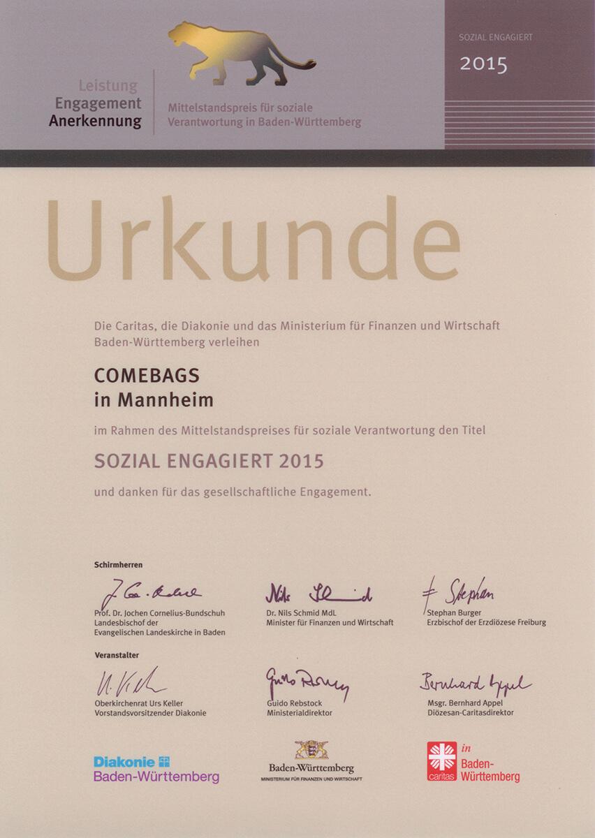 Urkunde LEA Mittelstandpreis_Baden Württemberg 2015