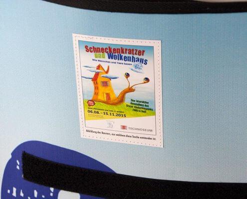 Aufnäher in der Recycling Tasche des Technoseum Mannheims