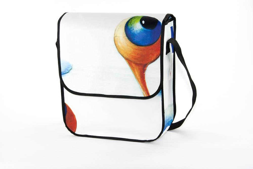 Recycling Tasche mit einem gemalten Schnecken-Auge