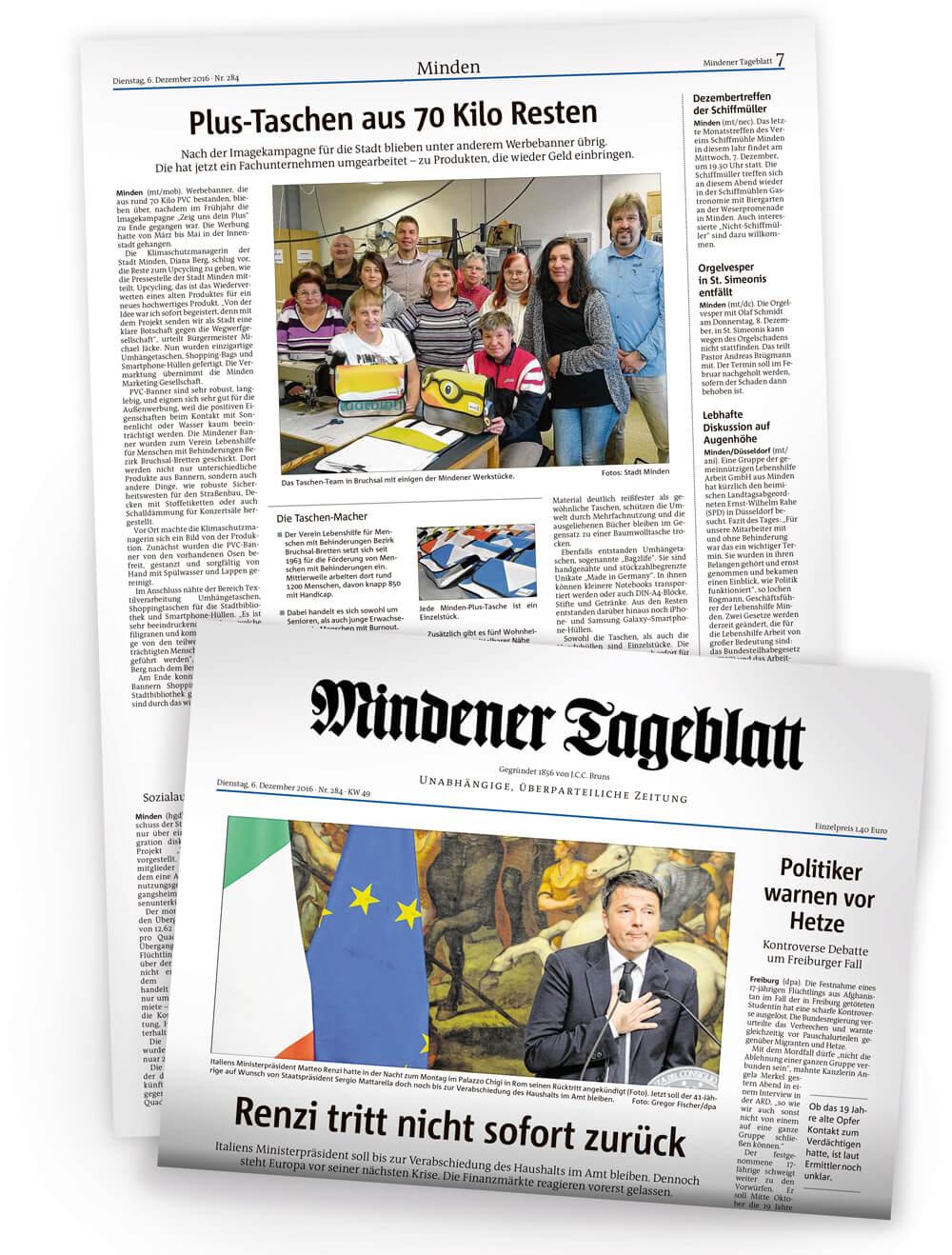 Artikel über Comebags, die Lebenshilfe Bruchsal und die Recycling Taschen im Mindener Tageblatt